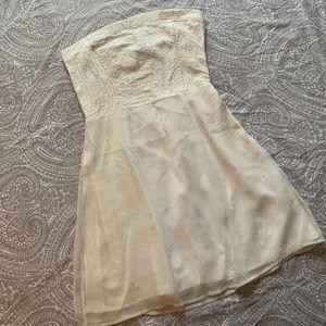 Beaded strapless cream dress